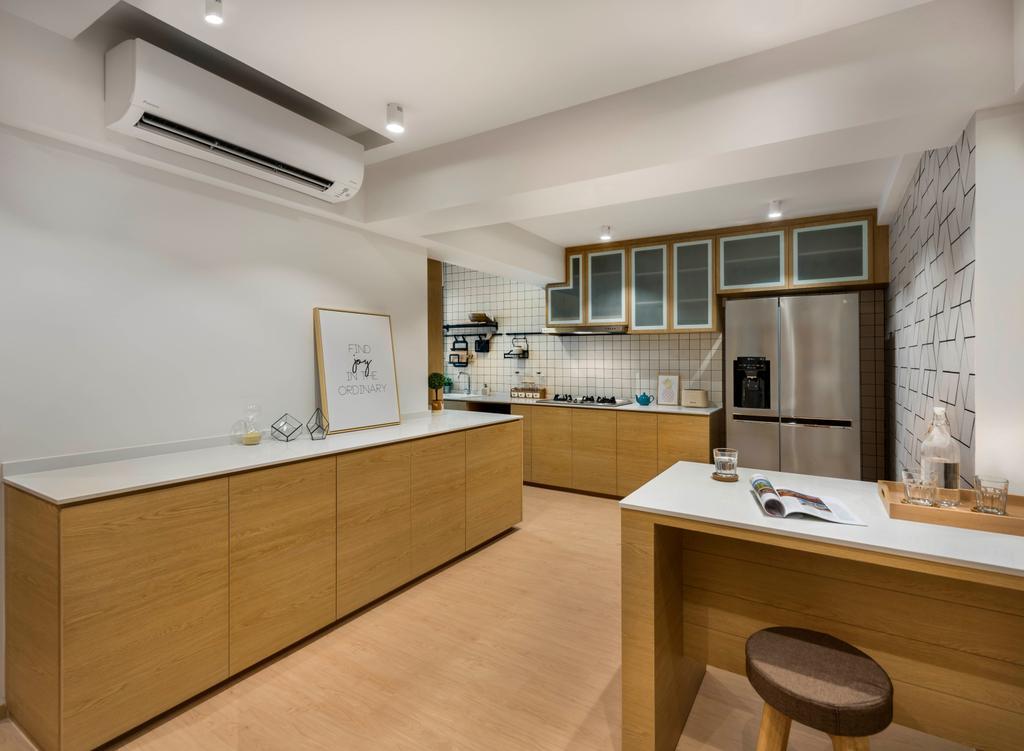 Scandinavian, HDB, Kitchen, Edgefield Plains, Interior Designer, D5 Studio Image, Island, Indoors, Interior Design, Room