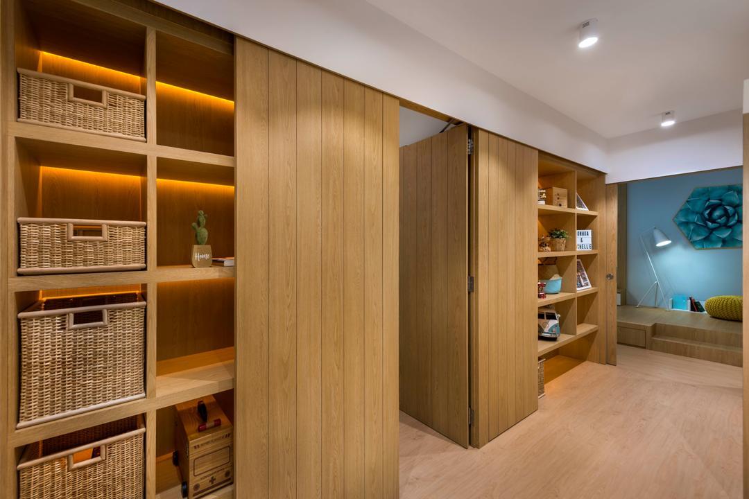 Edgefield Plains, D5 Studio Image, Scandinavian, Bedroom, HDB, Concealed Door, Partition, Storage, Cubbyholes, Shelves, Organisation, Flooring, Indoors, Interior Design, Drawer, Furniture