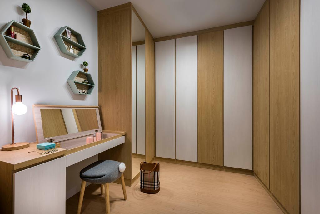 Scandinavian, HDB, Study, Edgefield Plains, Interior Designer, D5 Studio Image, Shelf, Lamp, Bar Stool, Furniture
