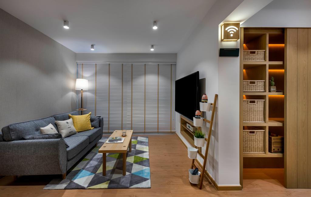 Scandinavian, HDB, Living Room, Edgefield Plains, Interior Designer, D5 Studio Image, Muji, Muji Inspired, Japanese, Couch, Furniture, Building, Housing, Indoors