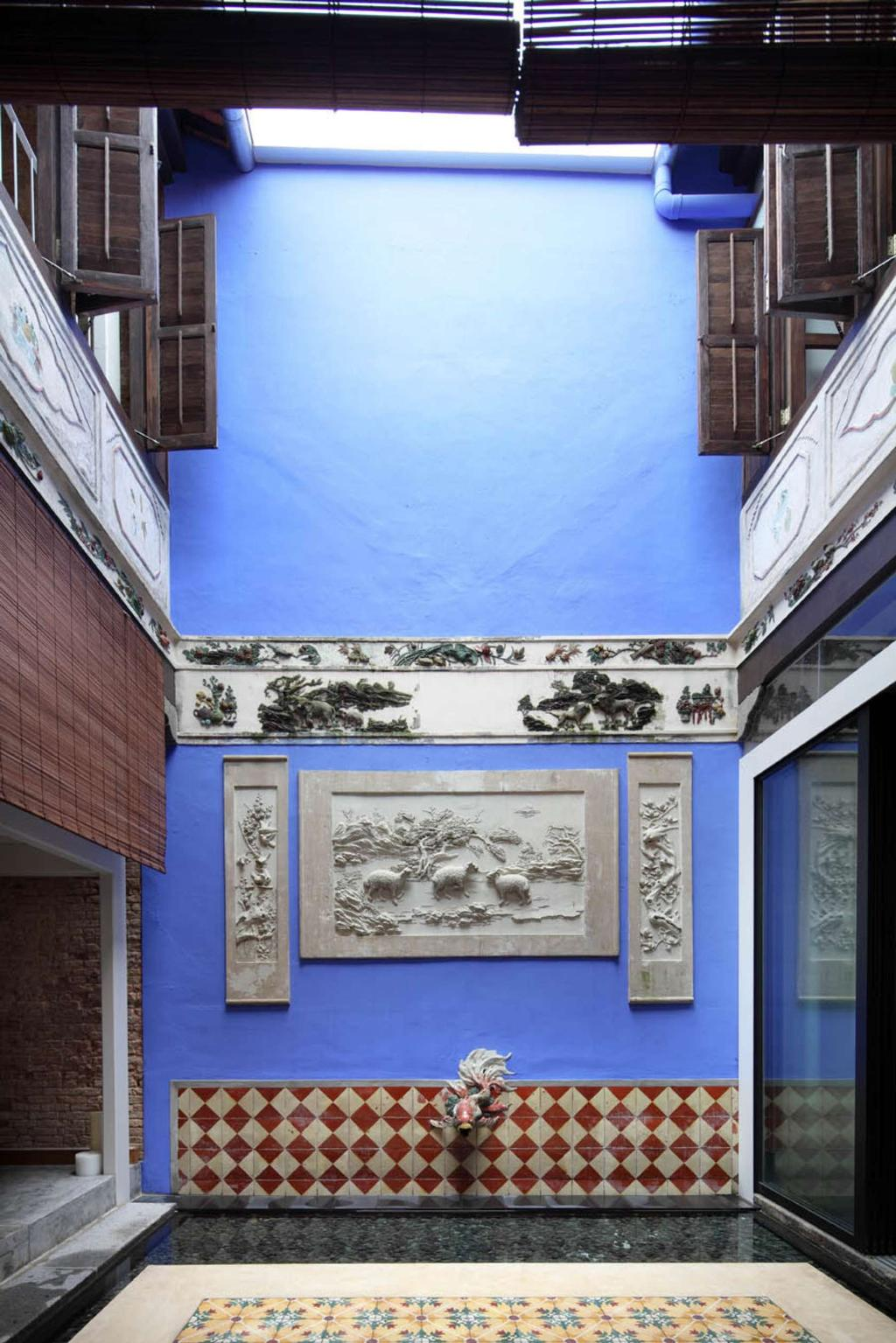 Traditional, Landed, Living Room, Neil Road Shophouse, Interior Designer, The Design Abode, Blue, Tiles, Peranakan, Oriental, Wall Art, Wall Decor, Home Decor, Brick