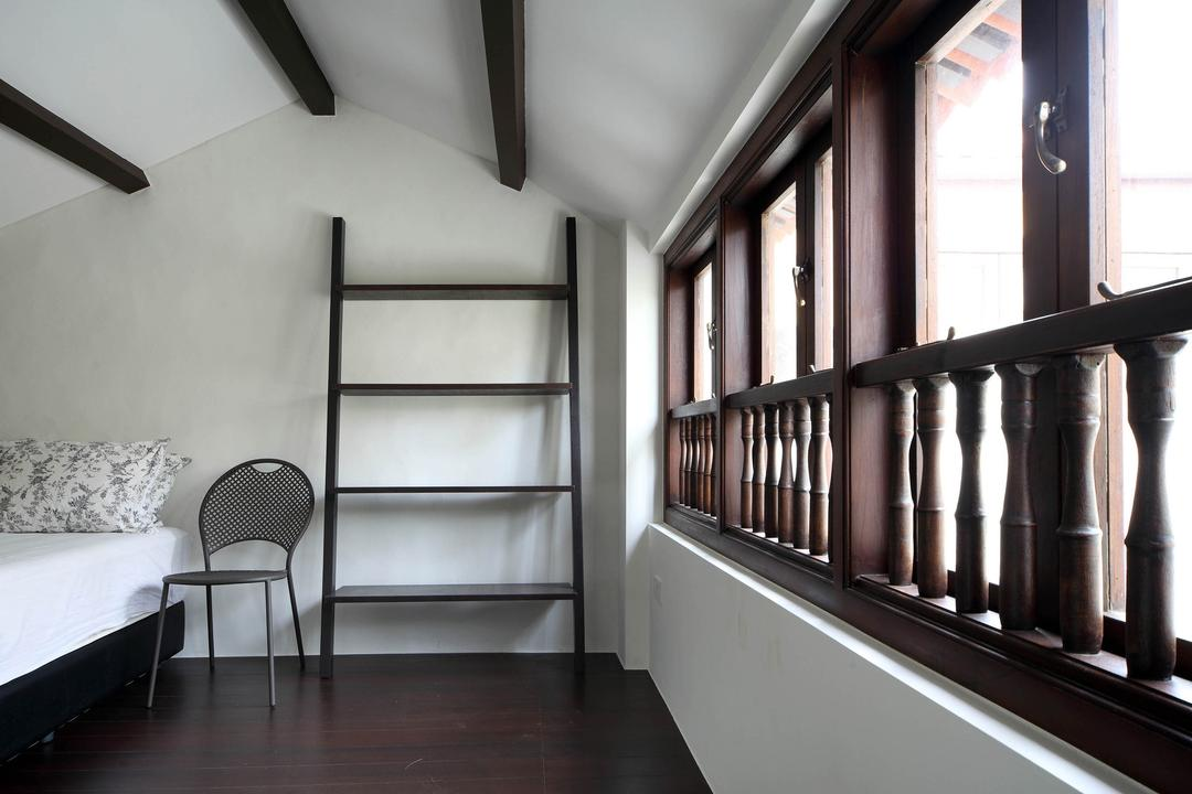 Neil Road Shophouse, The Design Abode, Traditional, Bedroom, Landed, Staircase, Wooden Beams, Bed, Chair, Oriental, Old, Wood, Window, Furniture, Shelf, Studio Couch