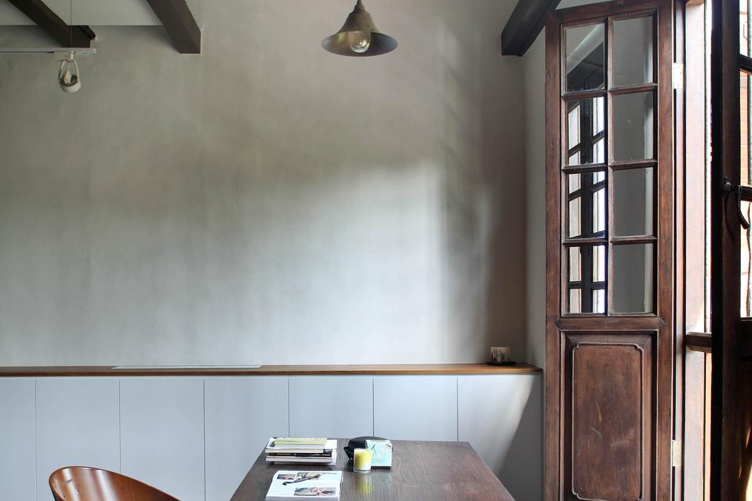 Neil Road Shophouse, The Design Abode, Traditional, Study, Landed, Table, Study Table, Work Desk, Chairs, Antique, Wood, Brown, Pendant Lighting, Pendant Light, Hanging Ligh, Ancient, Window, Light Fixture