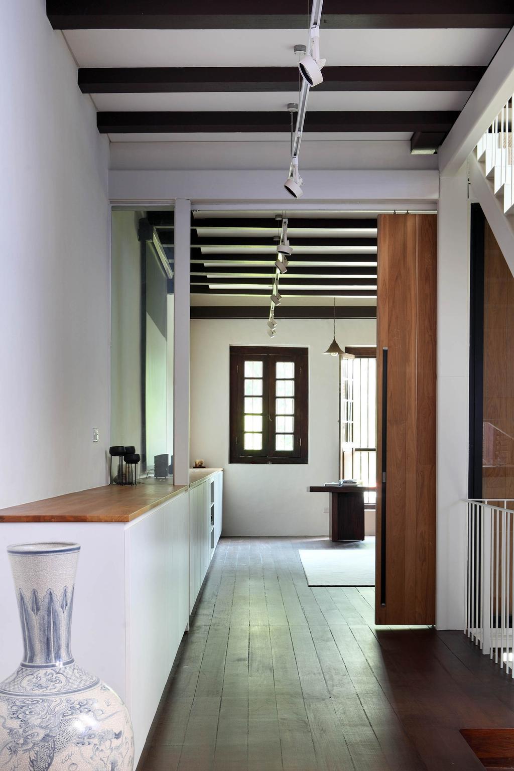 Traditional, Landed, Neil Road Shophouse, Interior Designer, The Design Abode, Wooden Beams, Track Lighting, Track Lights, Vase, Oriental, Door, Sliding Door