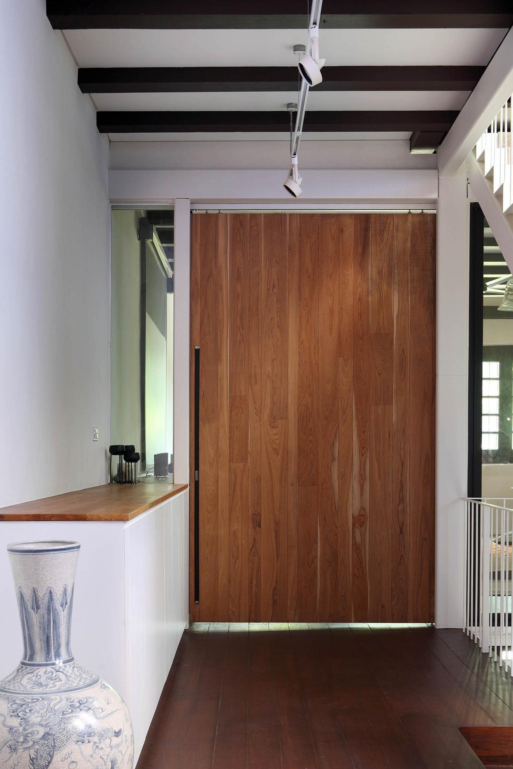 Traditional, Landed, Neil Road Shophouse, Interior Designer, The Design Abode, Door, Sliding Door, Vintage, Oriental, Vase, Wooden Beams, Flooring