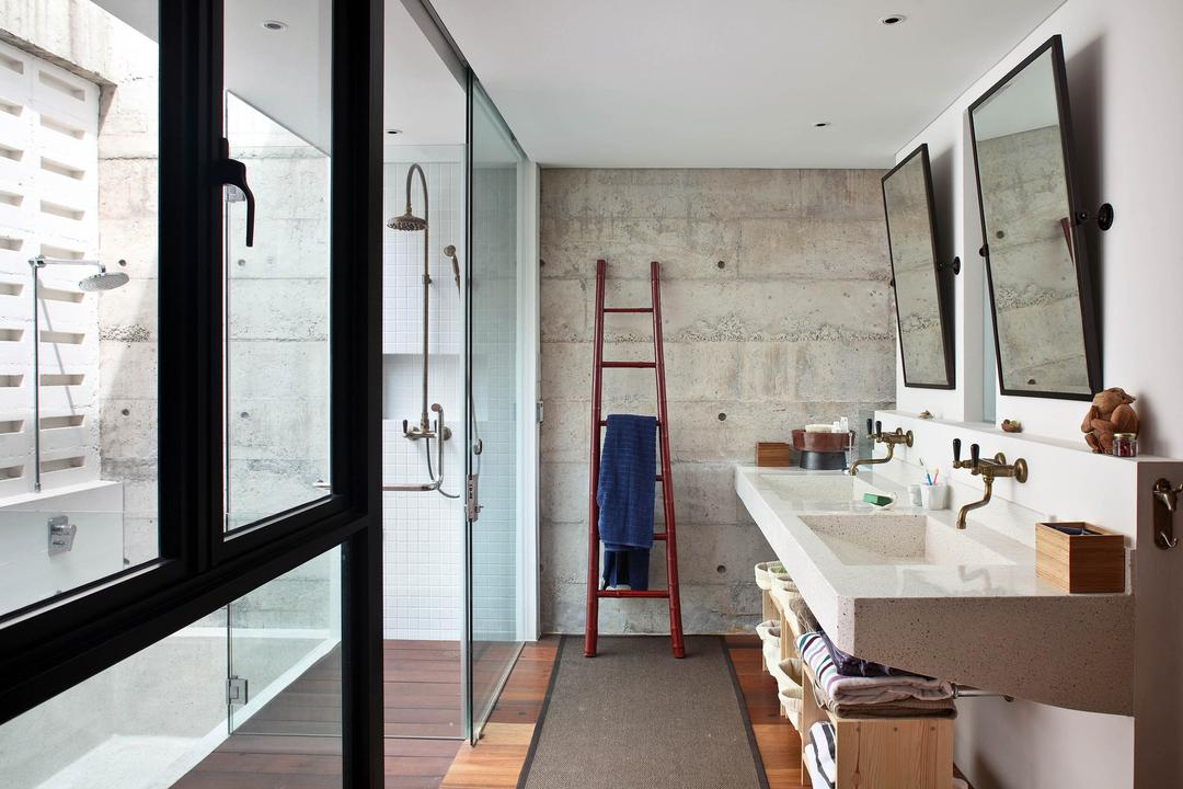 Neil Road Shophouse, The Design Abode, Traditional, Bathroom, Landed, Towel Rack, Staircase, Bathroom Vanity, Mirror, Double Sink, Bright, Natural Lighting, Shower Screen, Shower Head, Open, Outdoor