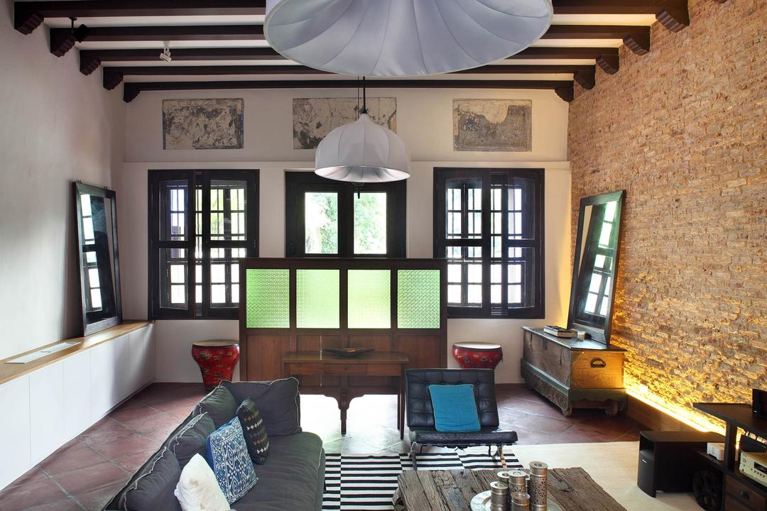 Neil Road Shophouse, The Design Abode, Traditional, Living Room, Landed, Wooden Beams, Hanging Lighting, Pendant Lighting, Brick Wall, Sofa, Couch, Cushions, Coffee Table, Partition, Window, Vintage, Brick, Furniture, Dining Room, Indoors, Interior Design, Room
