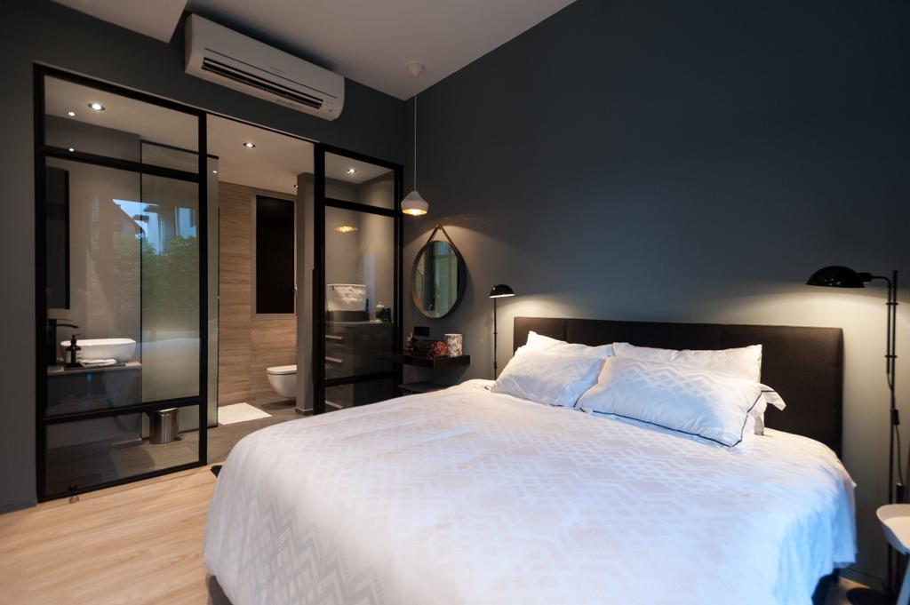 Scandinavian, Condo, Bedroom, Seletar Road, Interior Designer, MMJ Design Loft, Bathroom, Indoors, Interior Design, Room, Door, Sliding Door, Bed, Furniture