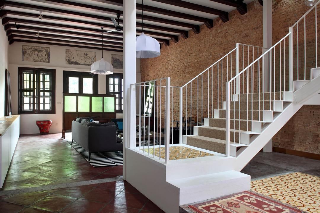 Neil Road Shophouse, The Design Abode, Traditional, Living Room, Landed, Stairs, Staircase, Wooden Beam, Banister, Handrail, Flooring