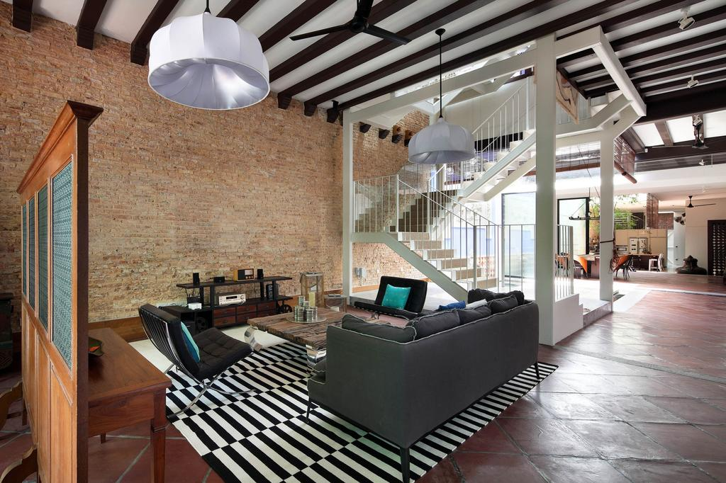 Traditional, Landed, Living Room, Neil Road Shophouse, Interior Designer, The Design Abode, Wooden Beams, Brick Wall, Carpet, Sofa, Couch, Spacious, Open, Airy, Partition, Staircase, Vintage, Peranakan, Furniture, Chair, Lamp, Lampshade, Indoors, Lobby, Room