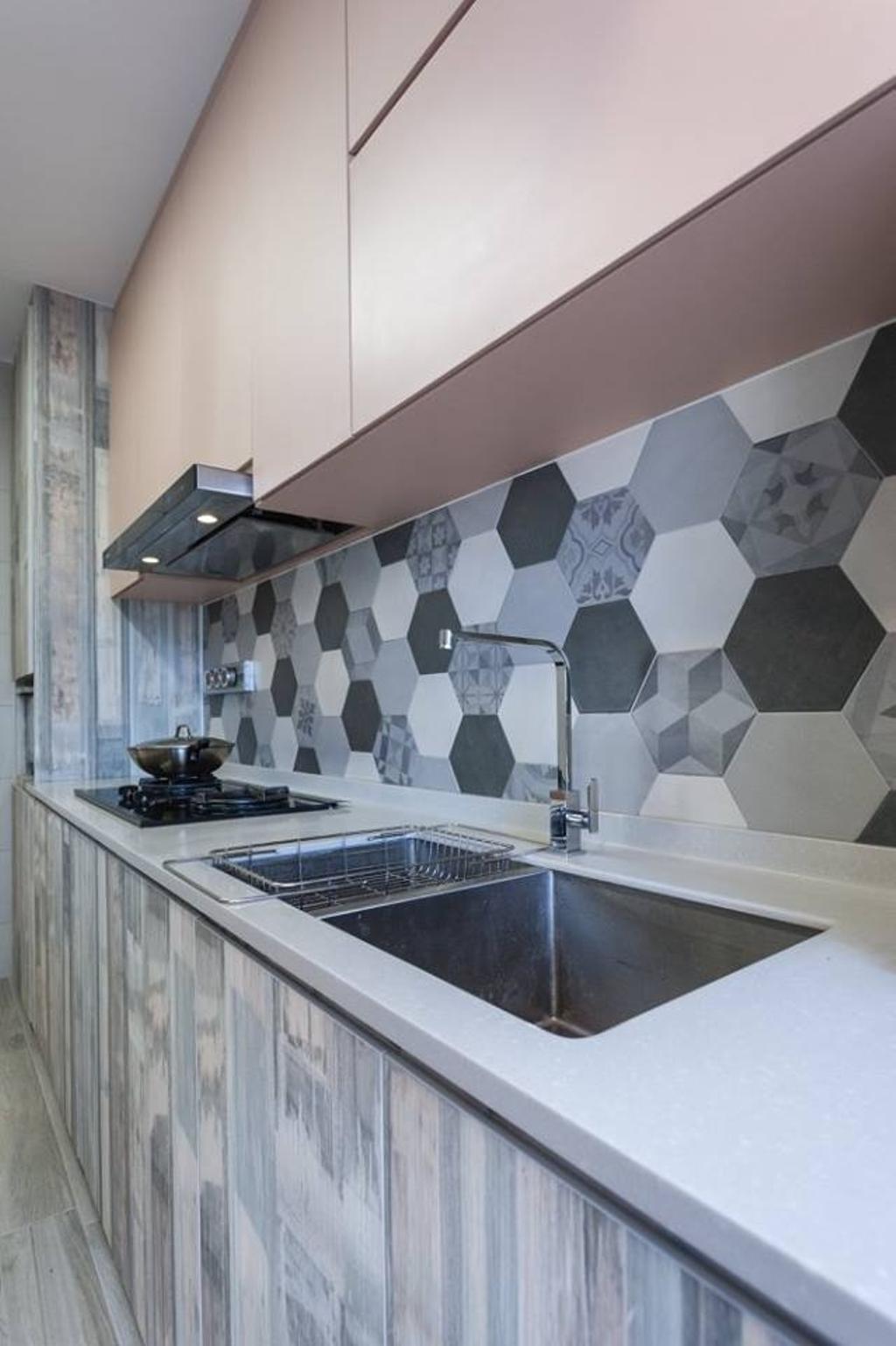 Contemporary, HDB, Kitchen, Upper Serangoon Road, Interior Designer, MMJ Design Loft, Paper, Bathroom, Indoors, Interior Design, Room, Art, Modern Art, Sink