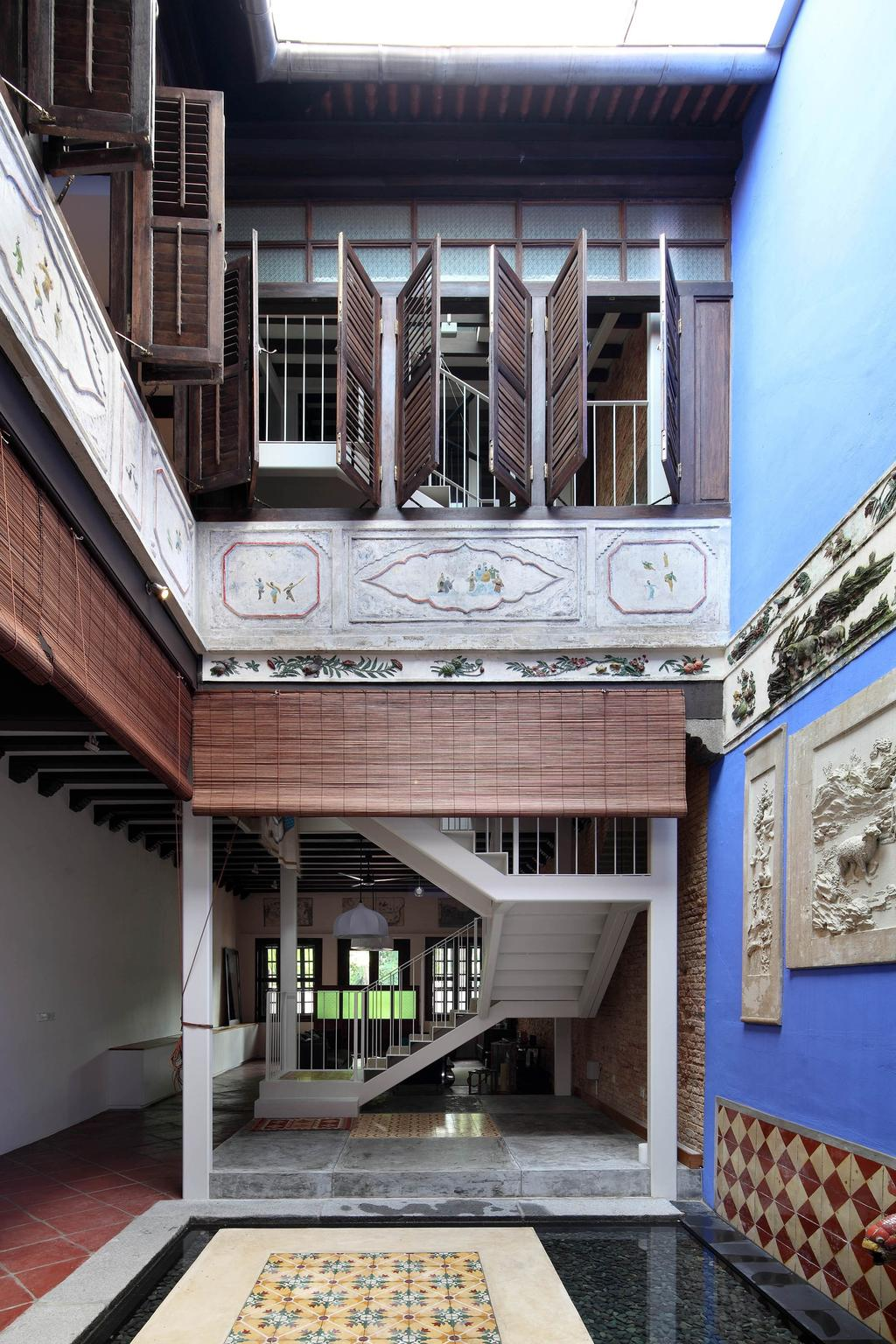 Traditional, Landed, Living Room, Neil Road Shophouse, Interior Designer, The Design Abode, Blinds, Oriental, Antique, Blue, Tiles, Wall Decor, Home Decor, Exotic, Windows, Peranakan, Awning, Canopy, Balcony, Curtain, Shutter, Window, Window Shade