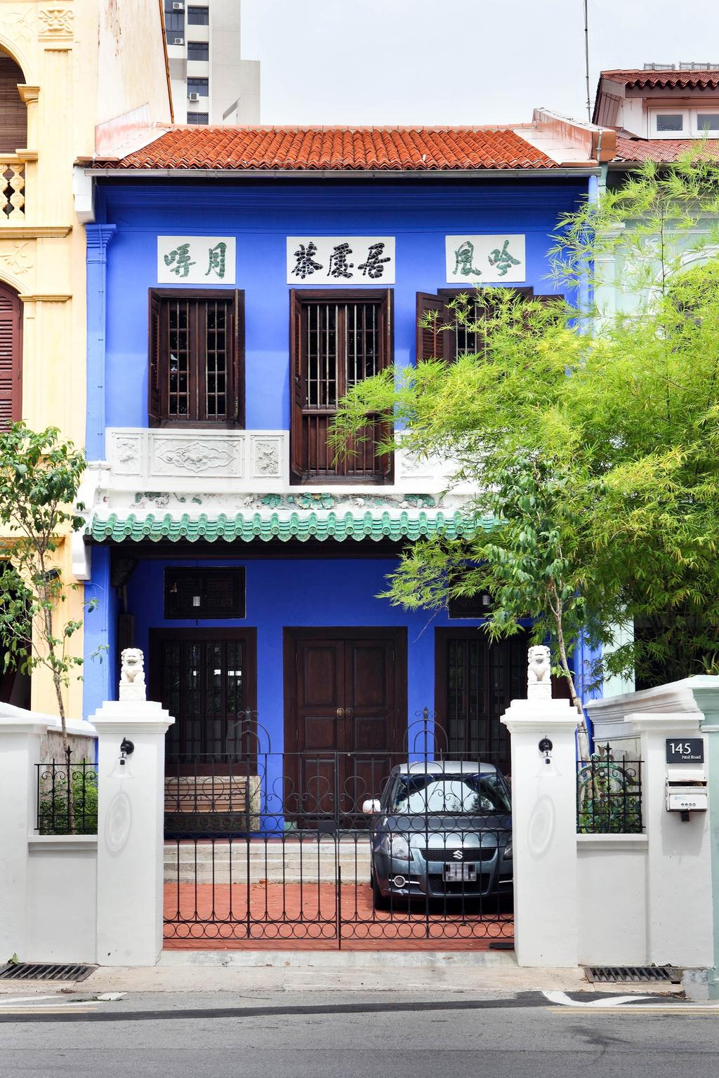 Traditional, Landed, Neil Road Shophouse, Interior Designer, The Design Abode, Oriental, Vintage, Blue, Entrance, Home Exterior, Exterior, Gate, Peranakan, Flora, Jar, Plant, Potted Plant, Pottery, Vase, Building, Neighborhood, Urban