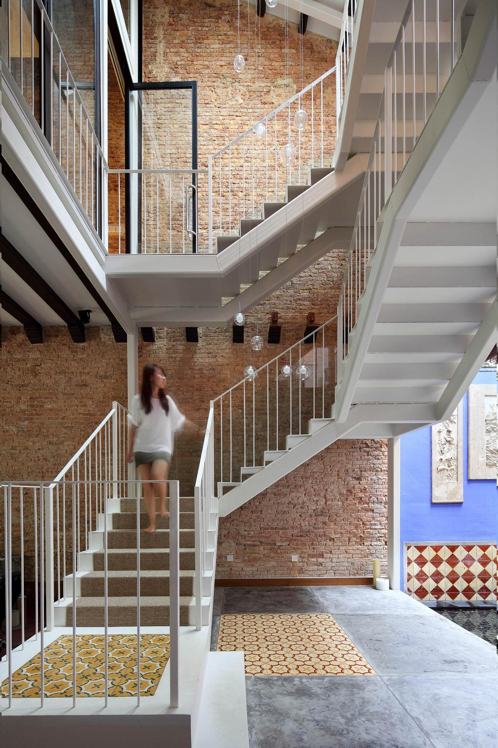 Traditional, Landed, Living Room, Neil Road Shophouse, Interior Designer, The Design Abode, Stairs, Staircase, Brick Wall, Human, People, Person, Banister, Handrail
