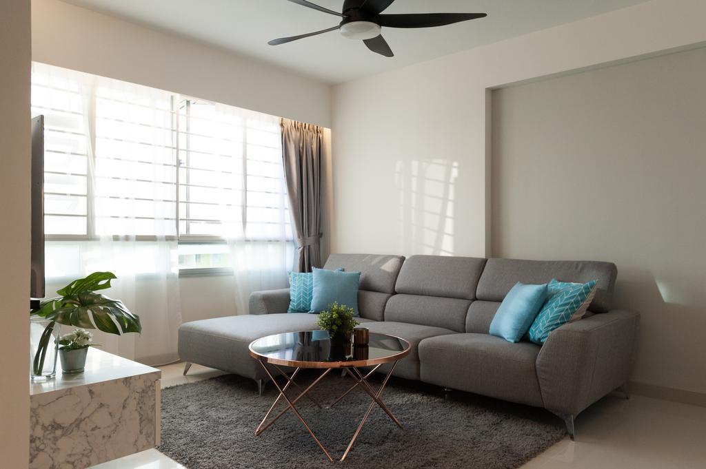 Modern, HDB, Living Room, Ang Mo Kio Street 51, Interior Designer, MMJ Design Loft, Couch, Furniture, Flora, Jar, Plant, Potted Plant, Pottery, Vase, Planter, Granite