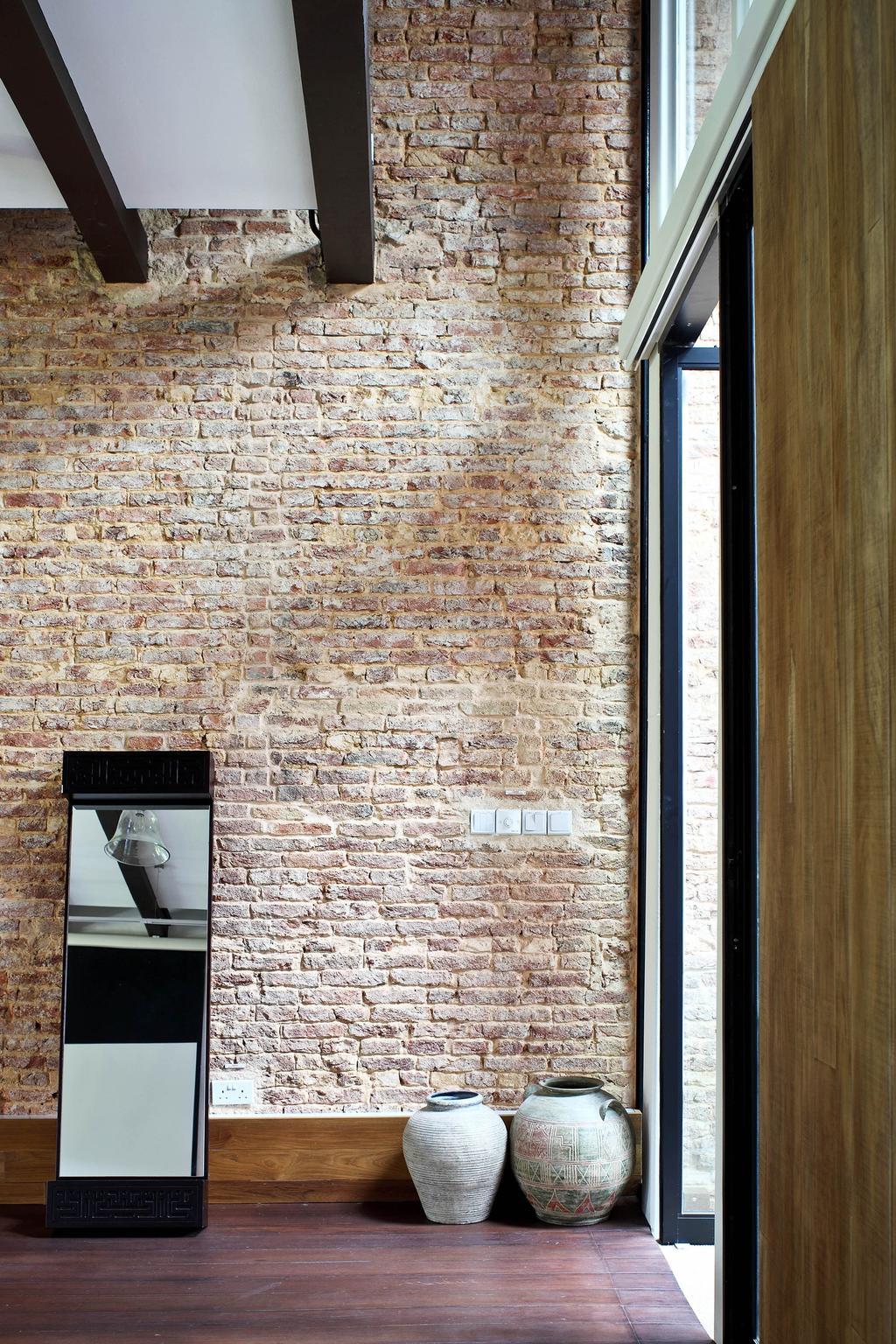 Traditional, Landed, Neil Road Shophouse, Interior Designer, The Design Abode, Brick Wall, Mirror, Vase, Oriental, Antique, Brick