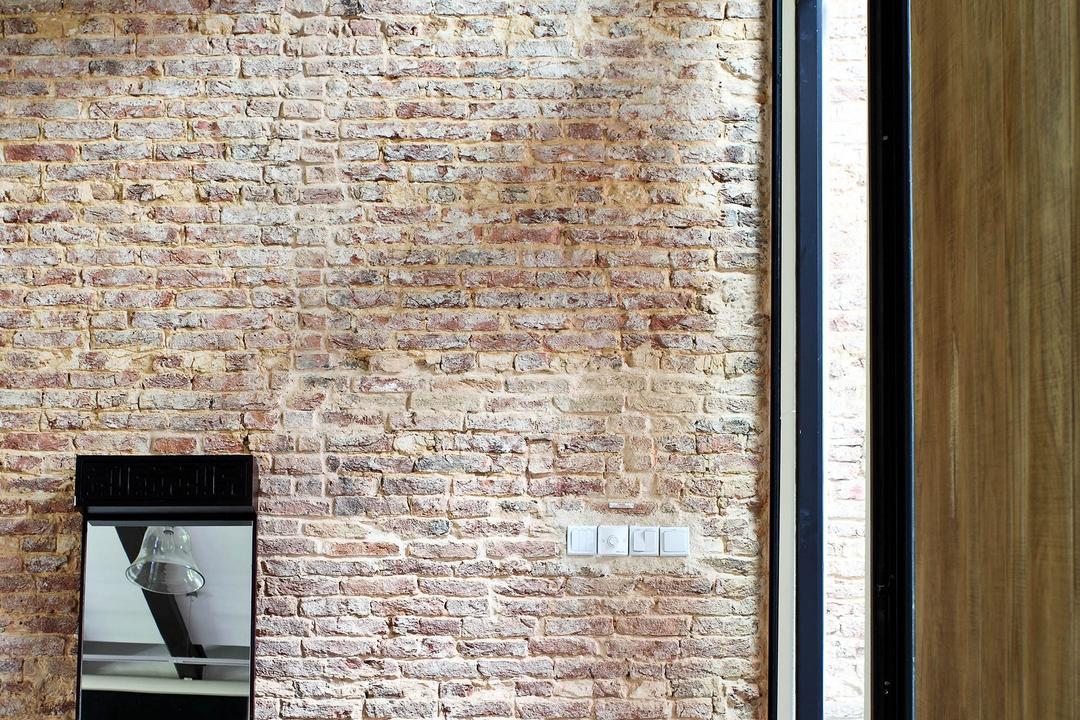 Neil Road Shophouse, The Design Abode, Traditional, Landed, Brick Wall, Mirror, Vase, Oriental, Antique, Brick