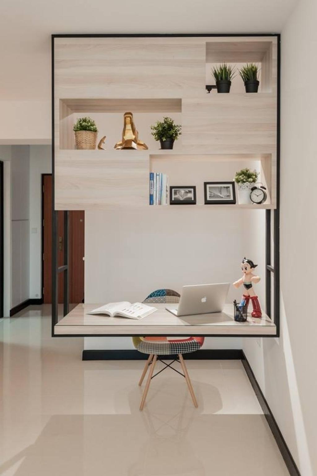 Scandinavian, HDB, Study, Bendemeer Road, Interior Designer, MMJ Design Loft, Shelf