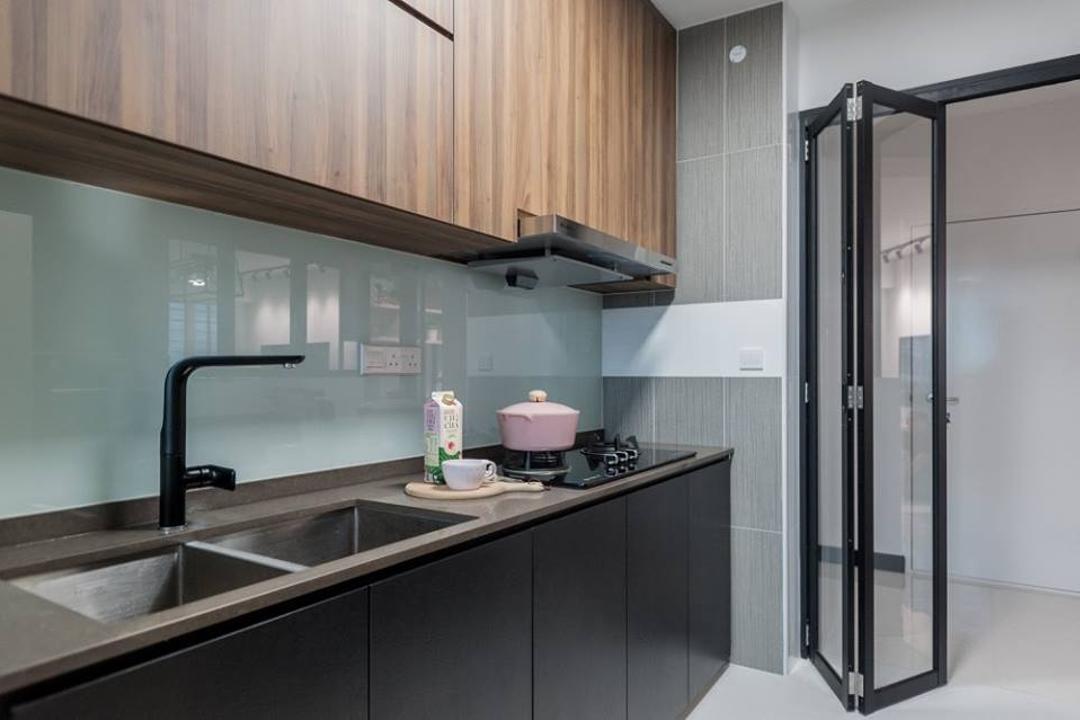 Bendemeer Road, MMJ Design Loft, Scandinavian, Kitchen, HDB, Sink, Door, Folding Door