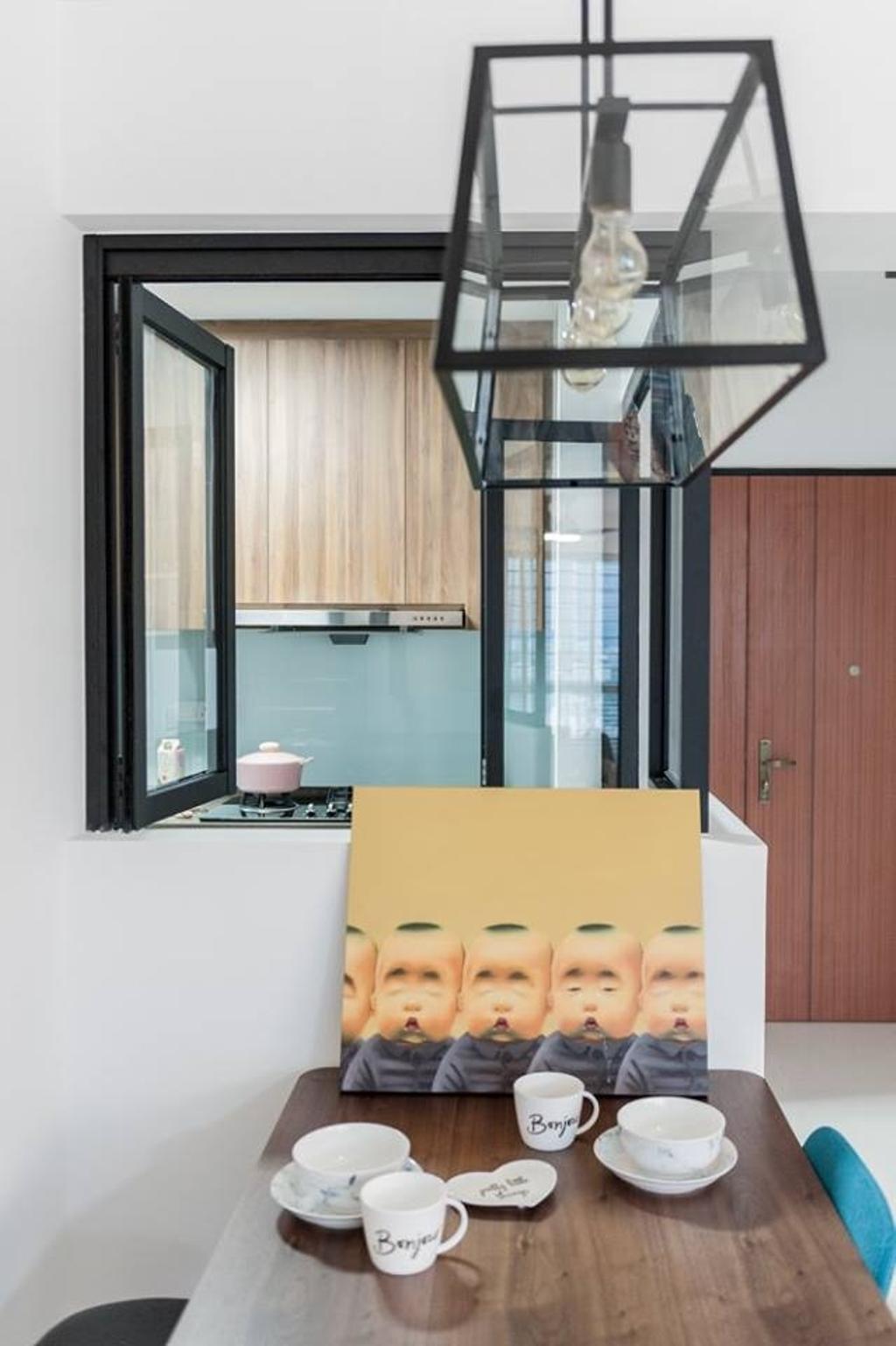 Scandinavian, HDB, Dining Room, Bendemeer Road, Interior Designer, MMJ Design Loft, Door, Sliding Door, Vise