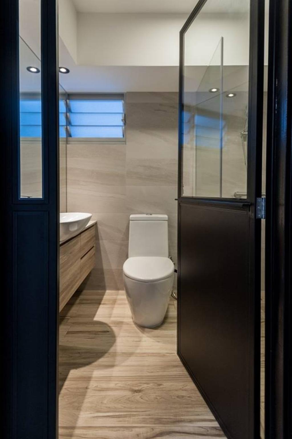 Scandinavian, HDB, Bathroom, Bendemeer Road, Interior Designer, MMJ Design Loft, Sink, Toilet, Door, Appliance, Electrical Device, Fridge, Refrigerator