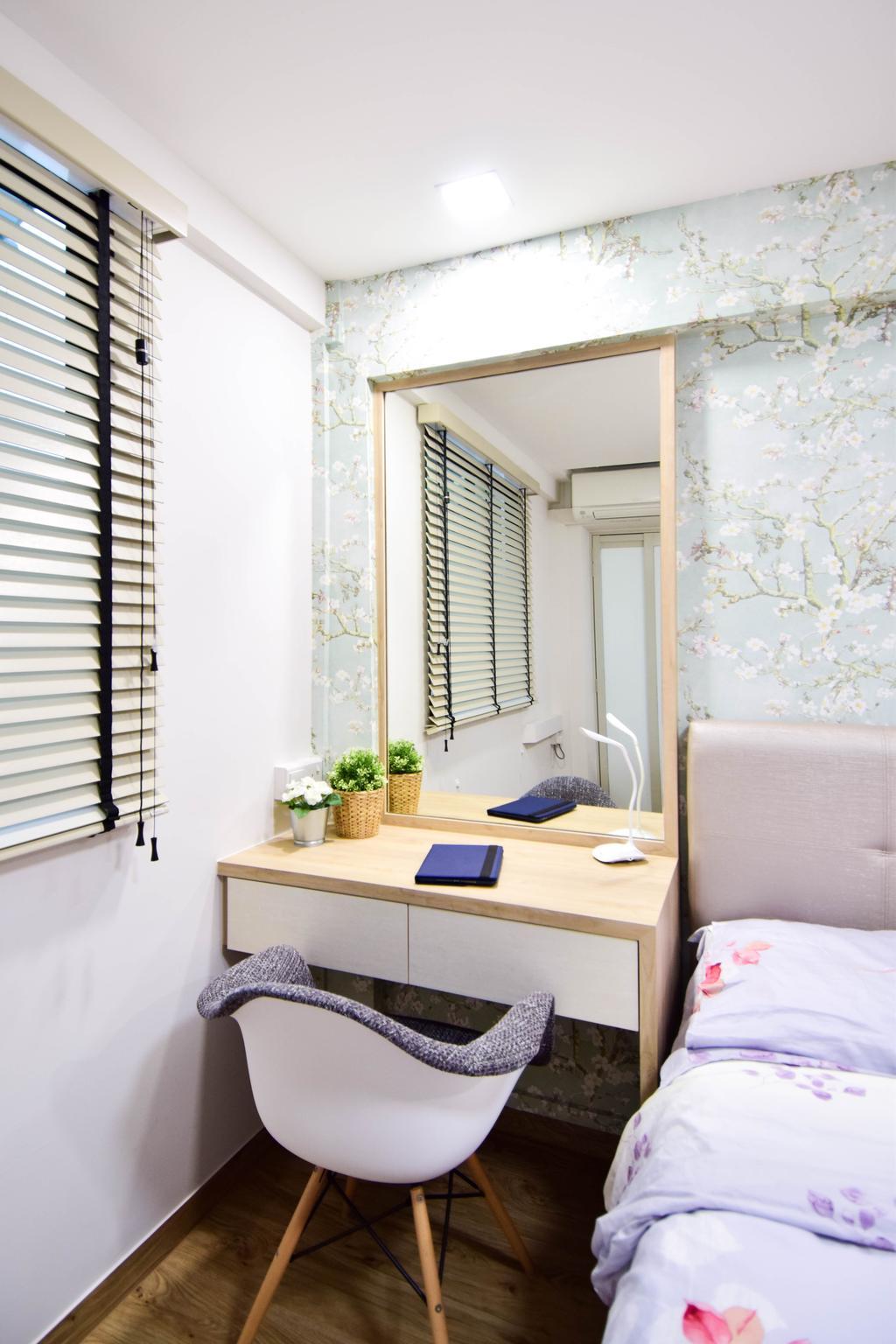 Retro, HDB, Bedroom, Jalan Klinik, Interior Designer, MMJ Design Loft, Eclectic, Shelf, Curtain, Home Decor, Window, Window Shade, Bathroom, Indoors, Interior Design, Room