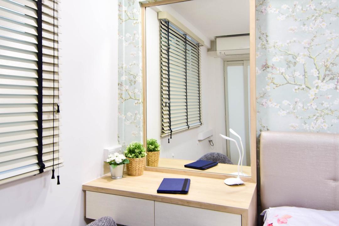 Jalan Klinik, MMJ Design Loft, Retro, Eclectic, Bedroom, HDB, Shelf, Curtain, Home Decor, Window, Window Shade, Bathroom, Indoors, Interior Design, Room