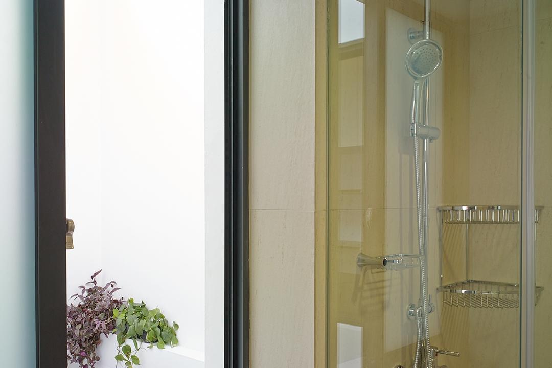 Jalan Sejarah, The Design Abode, Modern, Landed, Window, Shower Area, Shower Screen, Shower Head, Toiletries Rack, Bathroom Rack, Door, Folding Door, Blossom, Flora, Flower, Lilac, Plant, Vine