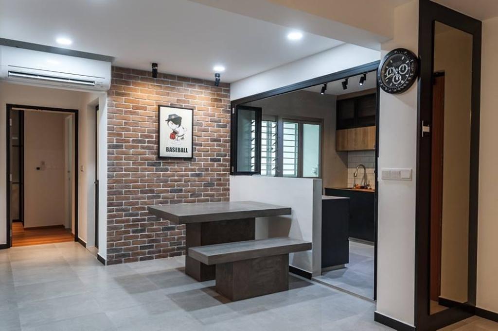 Industrial, HDB, Dining Room, Keat Hong Close, Interior Designer, MMJ Design Loft, Flooring
