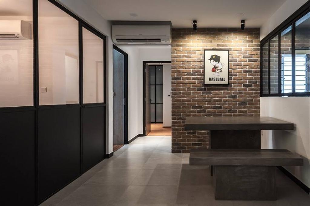 Industrial, HDB, Dining Room, Keat Hong Close, Interior Designer, MMJ Design Loft, Brick, Fireplace, Hearth