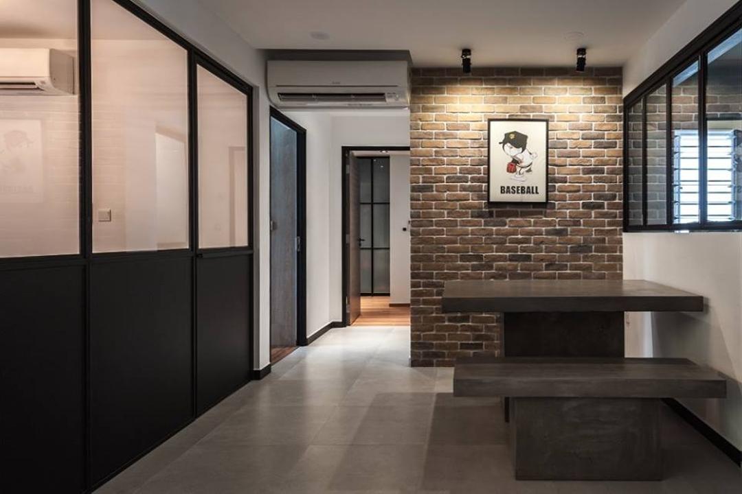 Keat Hong Close, MMJ Design Loft, Industrial, Dining Room, HDB, Brick, Fireplace, Hearth