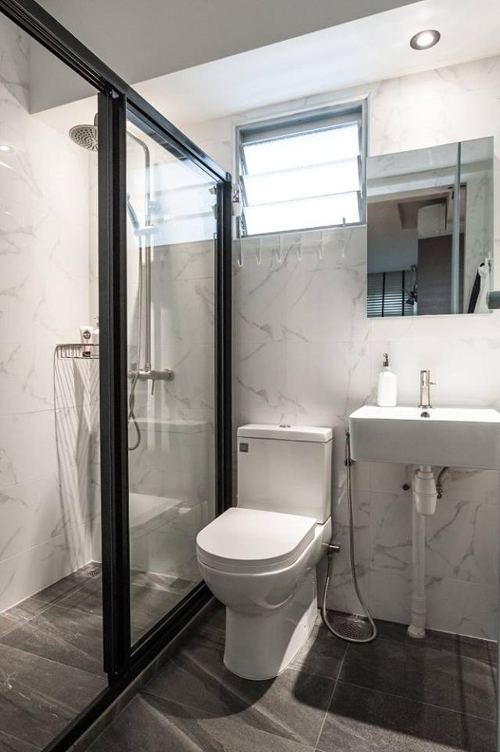 Industrial, HDB, Bathroom, Keat Hong Close, Interior Designer, MMJ Design Loft, Indoors, Interior Design, Room, Toilet