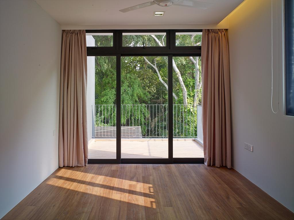 Modern, Landed, Jalan Sejarah, Interior Designer, The Design Abode, Window, Curtain, Wood Floor, Wood Flooring, Flooring
