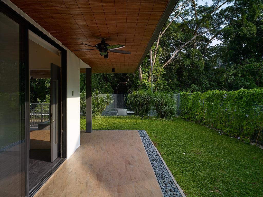 Modern, Landed, Jalan Sejarah, Interior Designer, The Design Abode, Garden, Greens, Nature, Plants, Ceiling Fan, Porch