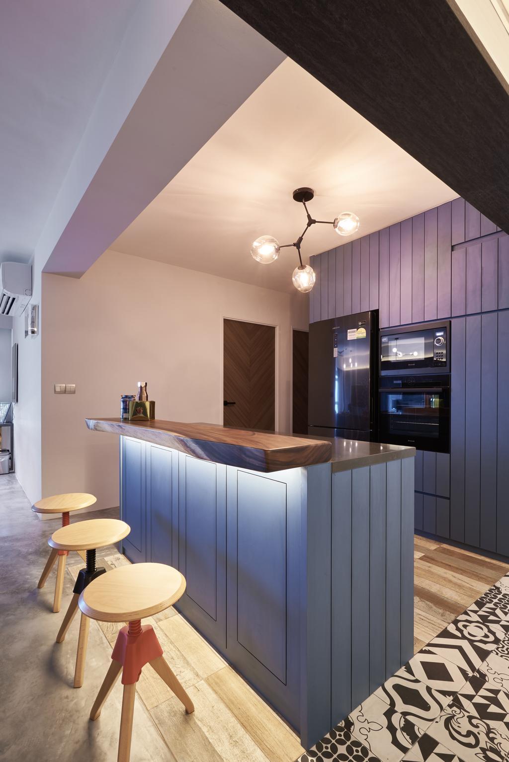 Industrial, HDB, Anchorvale Crescent, Interior Designer, Create, Indoors, Interior Design, Kitchen, Room, Plywood, Wood