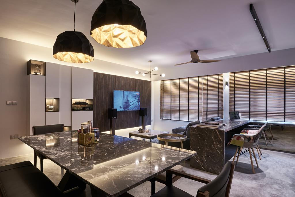 Industrial, HDB, Dining Room, Anchorvale Crescent, Interior Designer, Create, Dining Table, Furniture, Table, Indoors, Interior Design, Room, Chair