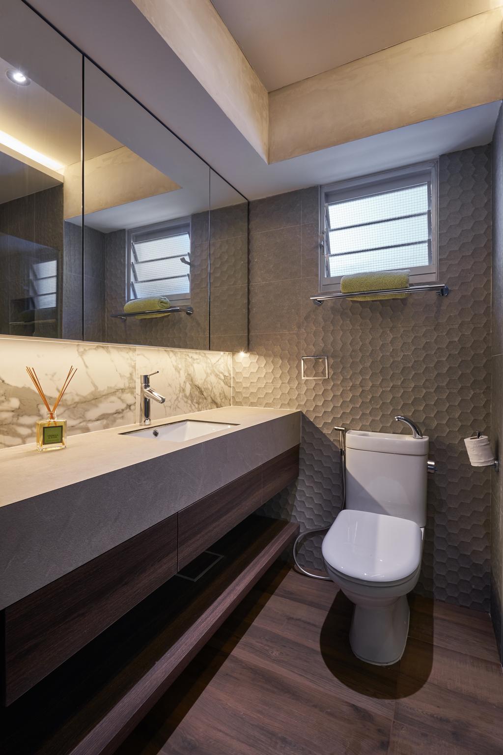 Industrial, HDB, Bathroom, Anchorvale Crescent, Interior Designer, Create, Sink, Trophy