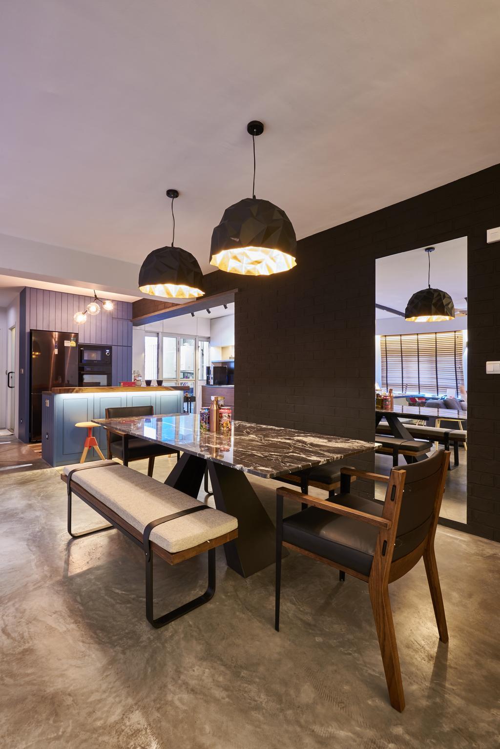Industrial, HDB, Dining Room, Anchorvale Crescent, Interior Designer, Create, Chair, Furniture, Indoors, Interior Design, Room, Building, Housing