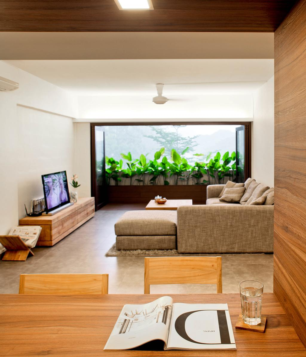 Minimalistic, HDB, Living Room, New Upper Changi Road, Interior Designer, The Design Abode, Greens, Plants, Sofa, Couch, L Shape Sofa, Tv, Tv Console, Tv Cabinet, Ceiling Fan, Chair, Dining Table, Wood, Flora, Jar, Plant, Potted Plant, Pottery, Vase, Indoors, Interior Design, Box, Crate