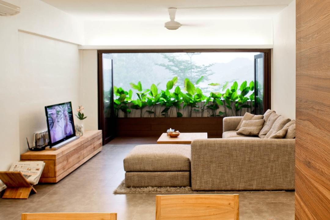 New Upper Changi Road, The Design Abode, Minimalist, Living Room, HDB, Greens, Plants, Sofa, Couch, L Shape Sofa, Tv, Tv Console, Tv Cabinet, Ceiling Fan, Chair, Dining Table, Wood, Flora, Jar, Plant, Potted Plant, Pottery, Vase, Indoors, Interior Design, Box, Crate