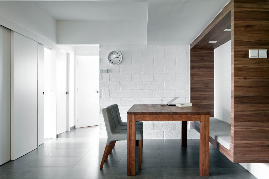 Minimalistic, HDB, Dining Room, New Upper Changi Road, Interior Designer, The Design Abode, Dining Table, Dining Room Chairs, Chairs, Clean, Simple, Flooring, Chair, Furniture, Table