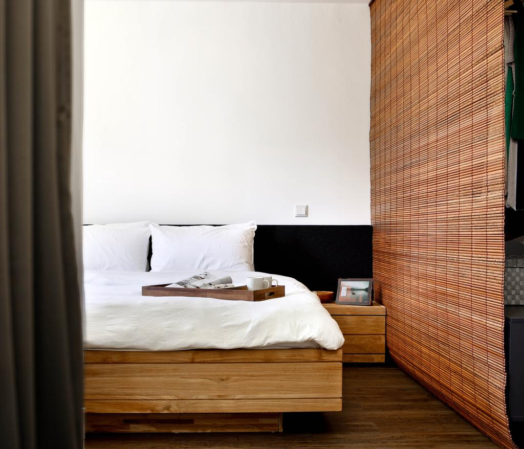 Minimalistic, HDB, Bedroom, New Upper Changi Road, Interior Designer, The Design Abode, Zen, Bed, Bed With Storage, Clean, Simple, Bedside Table, Furniture