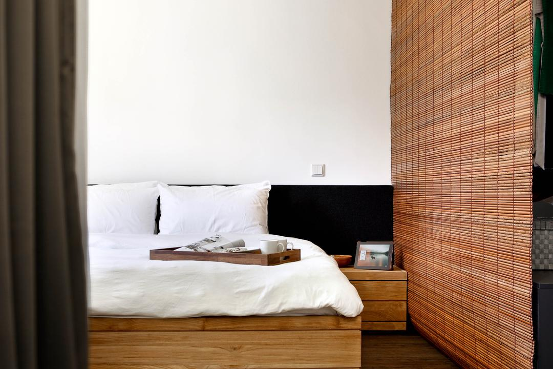 New Upper Changi Road, The Design Abode, Minimalistic, Bedroom, HDB, Zen, Bed, Bed With Storage, Clean, Simple, Bedside Table, Furniture
