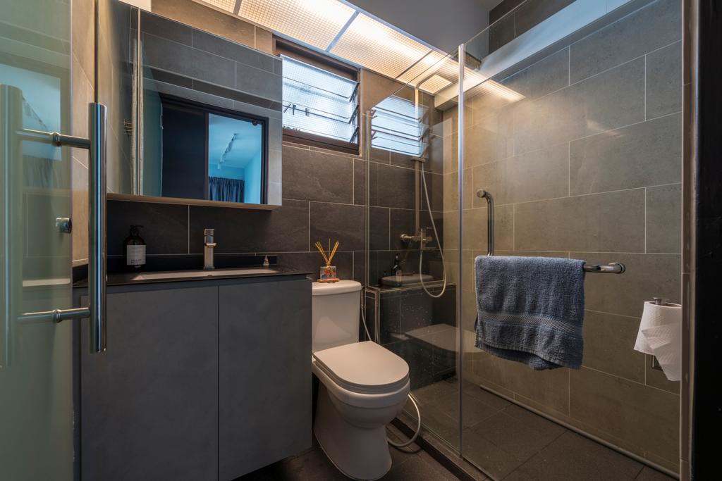 Modern, HDB, Bathroom, Ghim Moh Link, Interior Designer, Adroit ID, Toilet, Indoors, Interior Design, Room, Towel