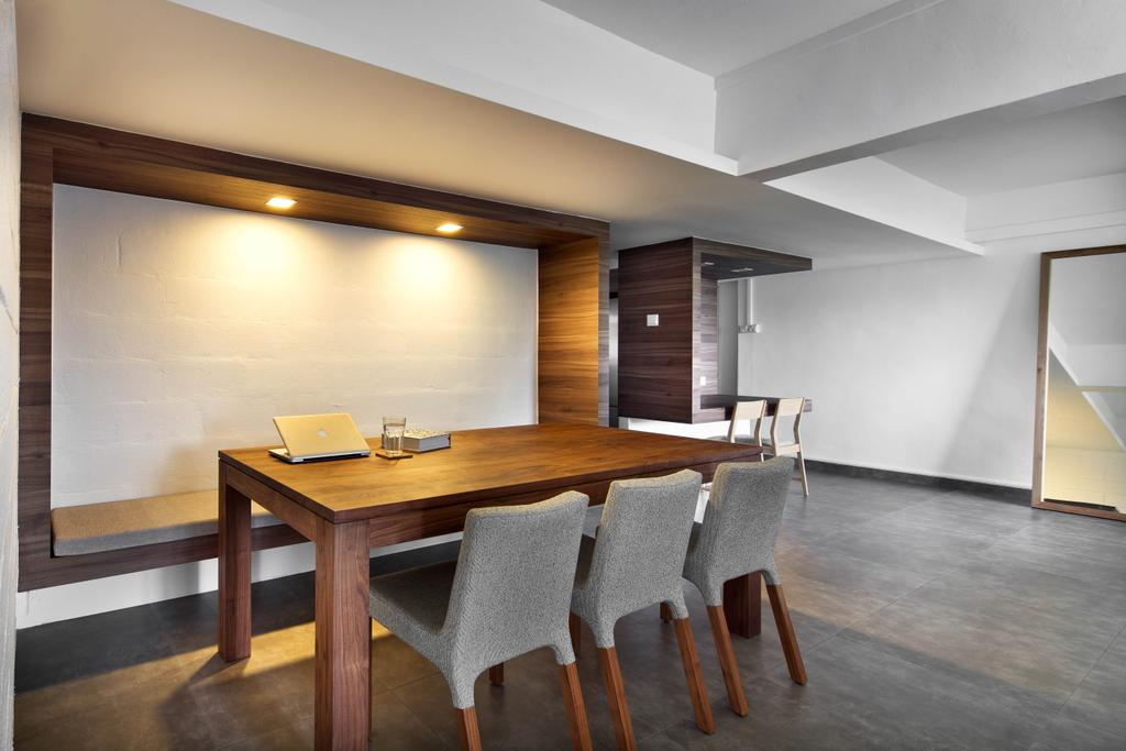 Minimalistic, HDB, Dining Room, New Upper Changi Road, Interior Designer, The Design Abode, Dining Table, Chairs, Dining Room Chairs, Downlight, Partition, Furniture, Table, Indoors, Room, Interior Design, Chair, Bench