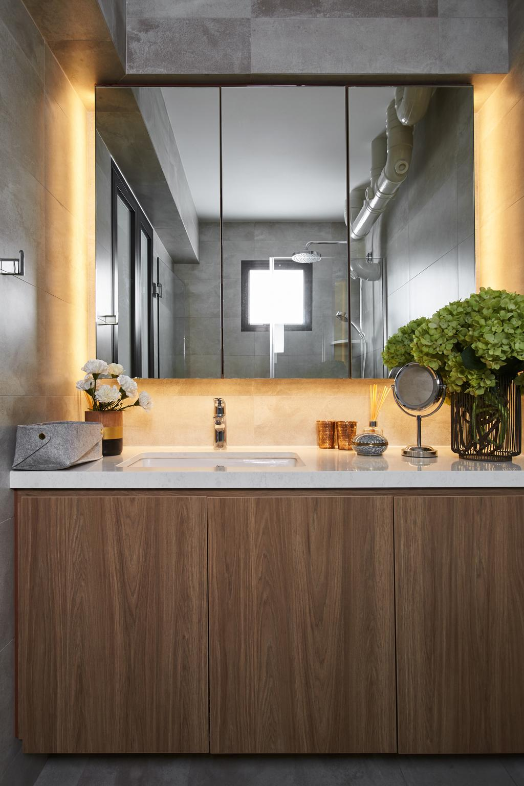Minimalistic, HDB, Bathroom, Telok Blangah, Interior Designer, Bowerman, Eclectic, Flora, Jar, Plant, Potted Plant, Pottery, Vase, Bonsai, Tree, Window, Sink