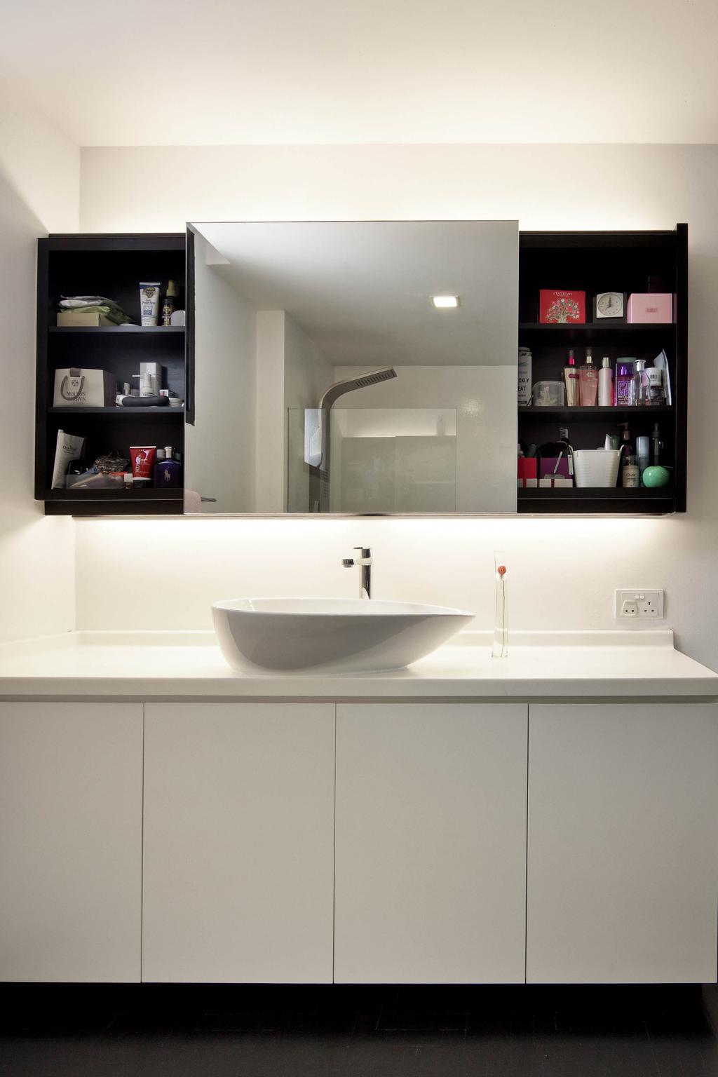 Minimalistic, Condo, Bathroom, Highland Condominium, Interior Designer, The Design Abode, Bathroom Vanity, Bathroom Sink, Sink, Mirror, Shelving, Shelves, White, Clean, Shelf
