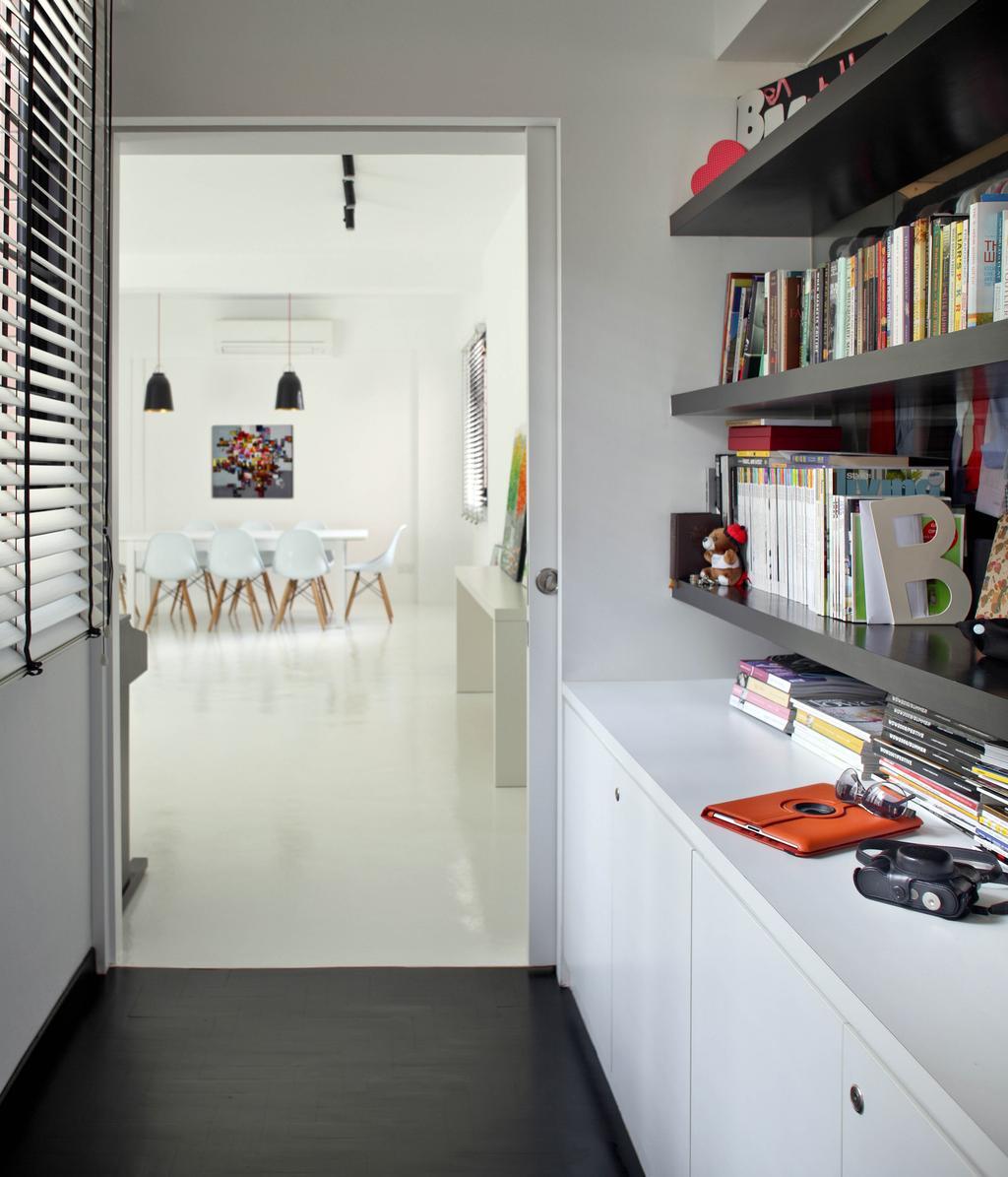 Minimalistic, Condo, Bedroom, Highland Condominium, Interior Designer, The Design Abode, Bookshelf, Shelves, Shelving, Books, Cabinet, Shelf, Indoors, Interior Design, Library, Room, Bookcase, Furniture, Dining Table, Table