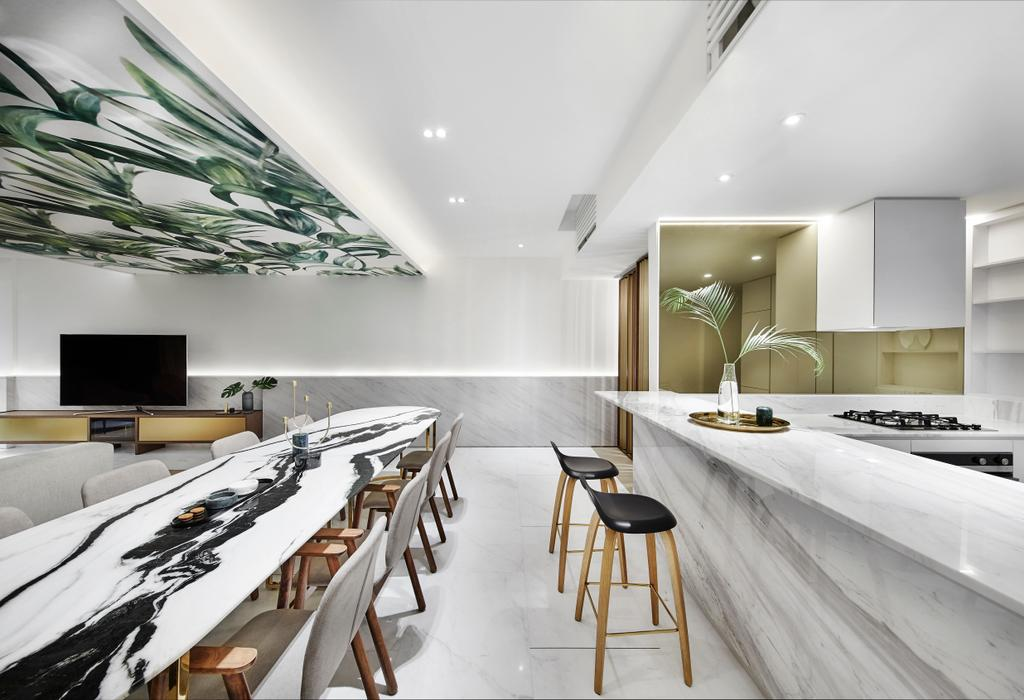 Contemporary, Condo, Dining Room, The Seafront, Architect, UPSTAIRS_, Minimalistic, Dining Table, Furniture, Table, Electronics, Entertainment Center, Home Theater, Indoors, Interior Design, Kitchen, Room