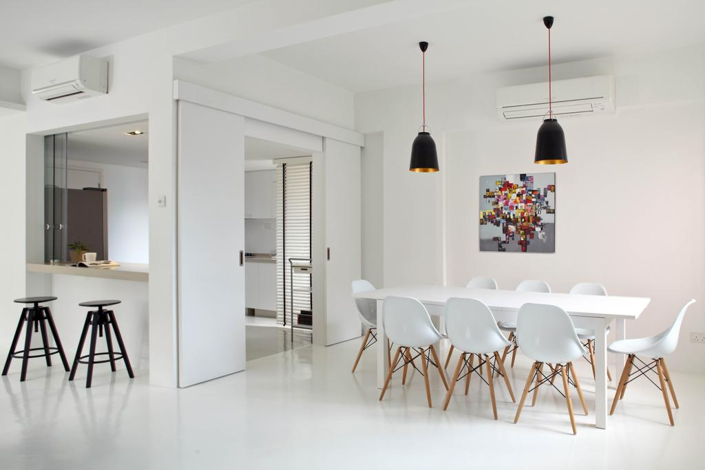Minimalistic, Condo, Dining Room, Highland Condominium, Interior Designer, The Design Abode, Pendant Light, Pendant Lighting, Hanging Lighting, Dining Table, Dining Room Chair, Chairs, Eames Chairs, White, Clean, Stools, Bar Stools, Painting, Chair, Furniture, Table, Indoors, Interior Design, Room